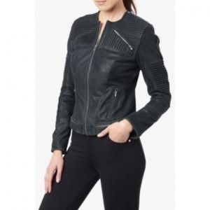 7 for all Mankind Navy Blue Moto Leather Jacket M
